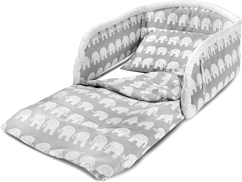 Bello - Ropa de cama para cuna (3 piezas, 100% algodón, 140 x 70 cm) Elefantes: Amazon.es: Bebé