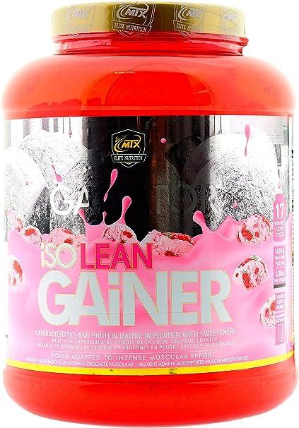 MTX nutrition IsoLeanGAINER Ganator [1,5 Kg.] Fresa Suplemento PREMIUM proteínas de suero con carbohidratos avanzados, Ganancia de Peso Muscular
