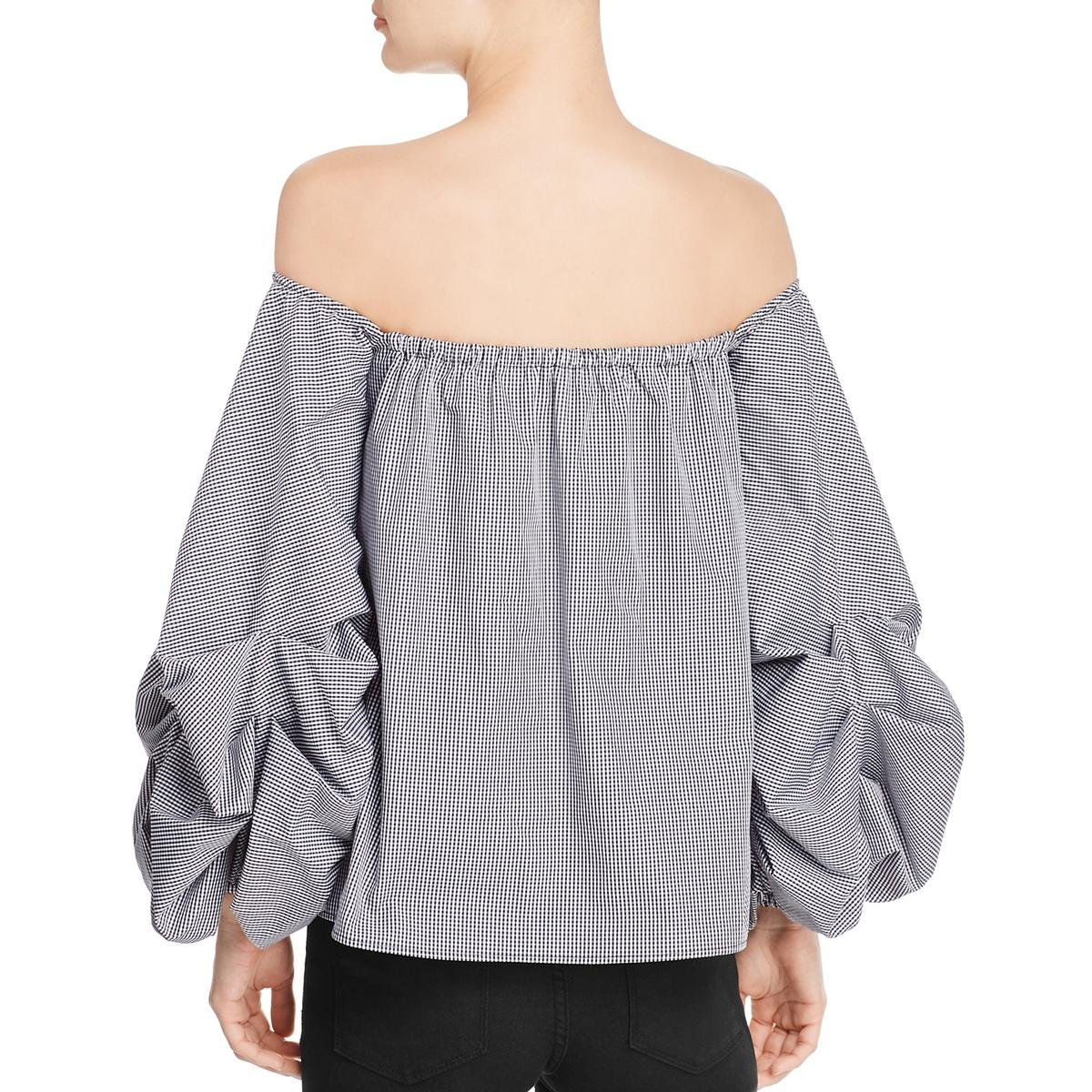 Petersyn Womens Mini Check Off-The-Shoulder Crop Top B/W L by Petersyn (Image #1)