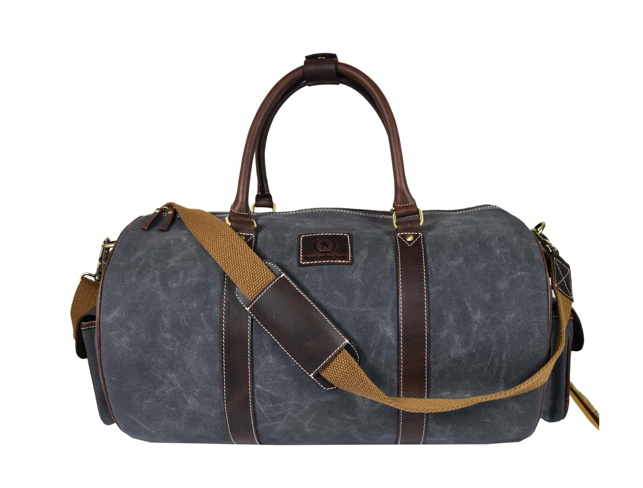 Water-Resistant Retro Style Travel Duffle Bag| Waxed Canvas Multi-Functional Weekender Bag | Unisex Holdall Bag By Aaron Leather (Grey)