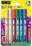 UHU 39040 - Glitter Glue, original, 6 Tuben á 10 ml, farblich sortiert