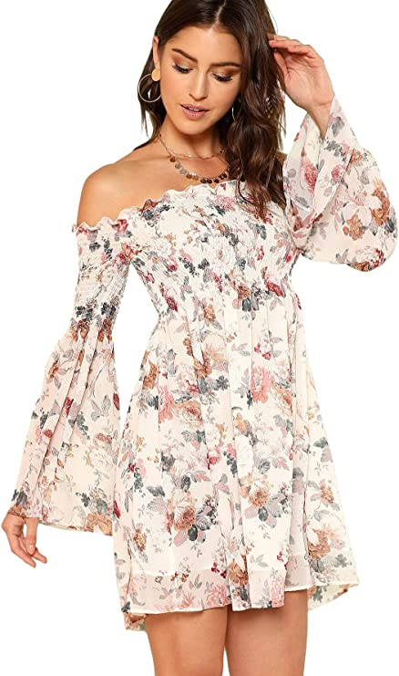 Romwe Floral Print Dress for Women, Cute Valentines Day Dress, Off the Shoulder