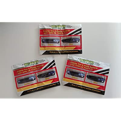 Yellow Off Exterior Trim & Plastic Restoration Wipes Multi Pack (3 Sets of Wipes): Automotive