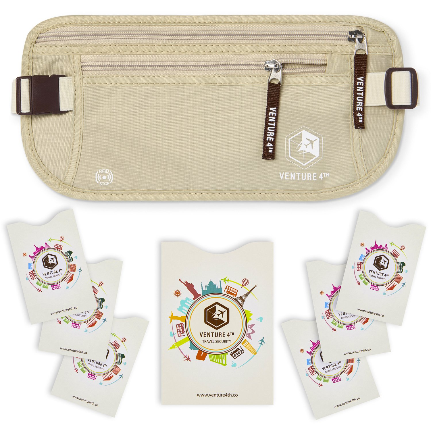 VENTURE 4TH RFID Money Belt for Travel: The Trusted Hidden Waist Stash for Men and Women (Beige + RFID Sleeves) by VENTURE 4TH