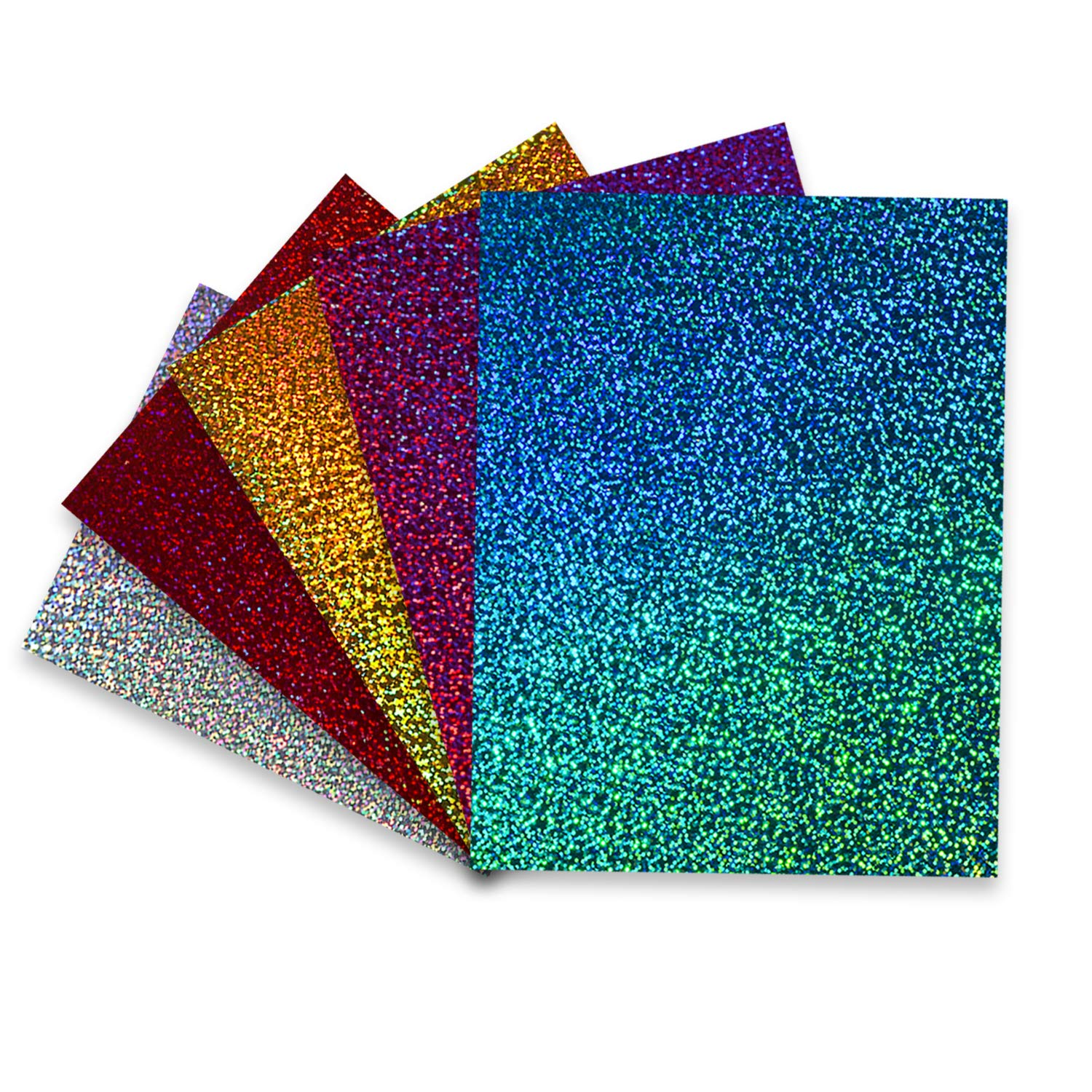 TECKWRAP Shining Laser Heat Transfer Vinyl Holographic Glitter Iron On Vinyl Sheets for T-Shirts and Iron On Vinyl 12x10 6 Sheets Red HTV