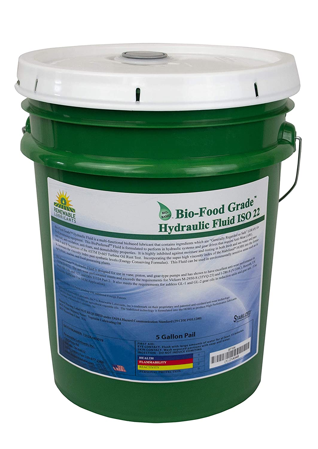 Renewable Lubricants Bio-Food Grade ISO 22 Hydraulic Fluid, 5 Gallon Pail