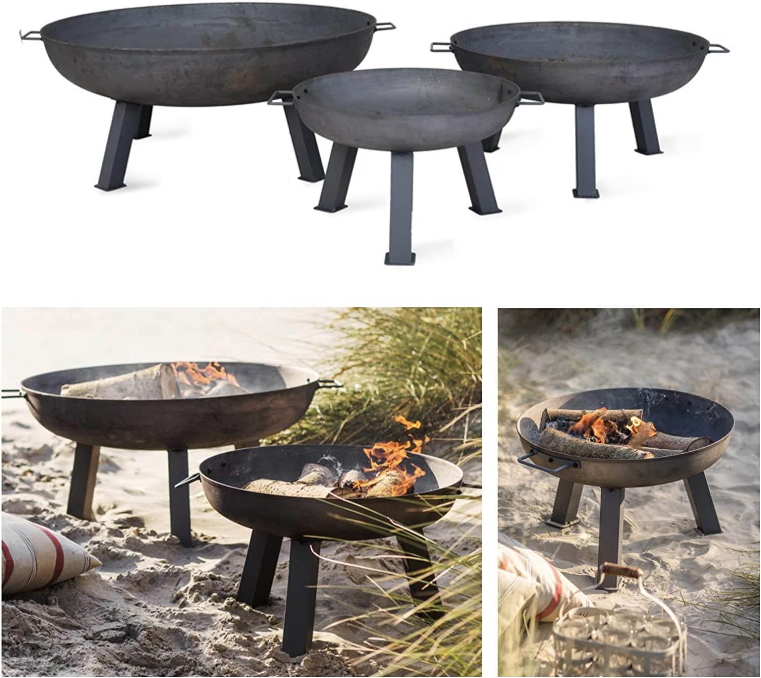 Ckb Ltd Fire Pit Garden Outdoor Patio ñ Large Burner With Handles Rustic Heavy Duty Free Standing Round Bowl Made From Raw Steel Brazier Available In 3 Sizes Large H41 5
