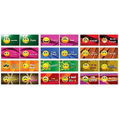 24 Commonly Use Emojis Learning Flash Cards (24-Pack - 12 Cards Front & Back Designs x 2 Sets): Office Products