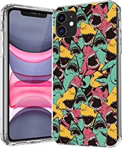 iPhone 11 Pro Max Case,Personality Ocean Sharks Pattern Soft Anti Scratch Shatter Resistant Clear TPU with Air Cushion Bumper Protective Case Cover for Apple iPhone 11 Pro Max 2019