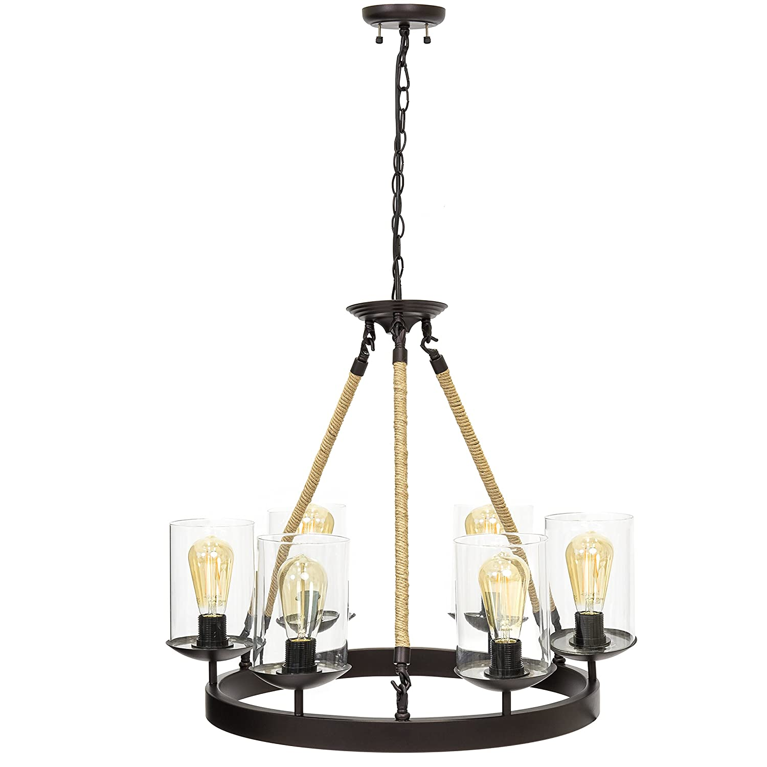Best Choice Products Living Dining Room Modern Rustic Rope Design 6-Light Chandelier Pendant Lighting Fixture