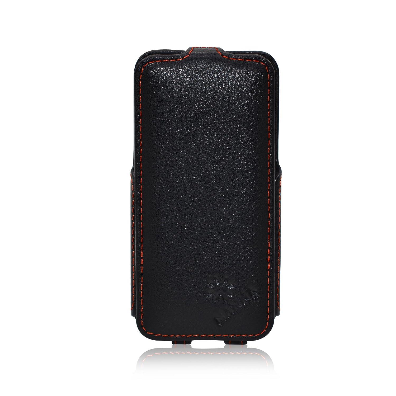 e752d7024d3 iPhone SE, iPhone 5 y 5s MANNA Funda ultradelgada de piel | Función  EasyStand | Piel sintética de Napa, color negro | Funda flip case| by  Leicke: Amazon.es: ...