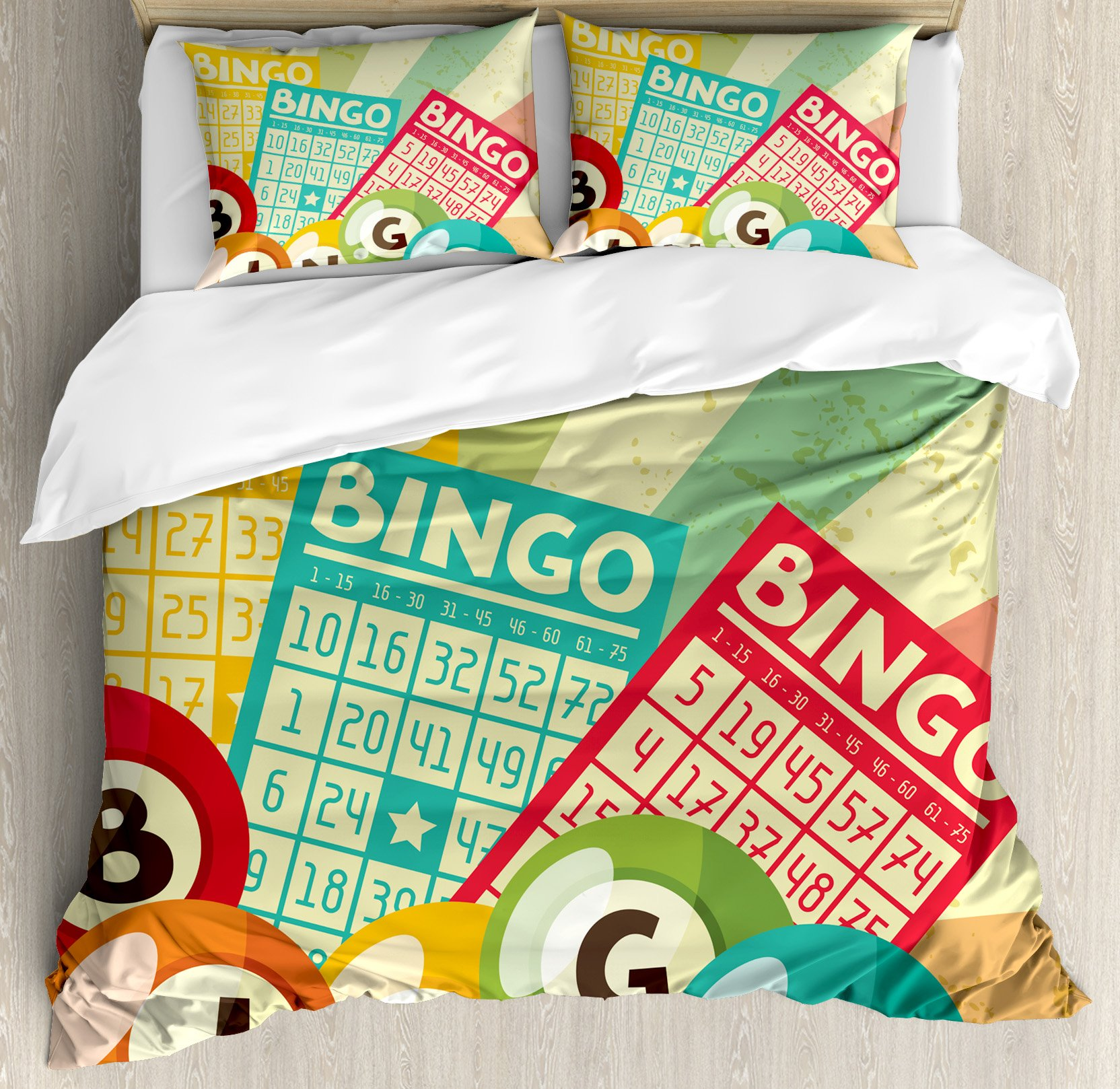 Vintage Decor Duvet Cover Set by Ambesonne, Bingo Game with Ball and Cards Pop Art Stylized Lottery Hobby Celebration Theme, 3 Piece Bedding Set with Pillow Shams, Queen / Full, Multi by Ambesonne