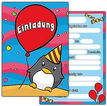 10 Einladungskarten Zum Kindergeburtstag U0026quot;Pinguinu0026quot; //  Geburtstagseinladungen Einladungen Geburtstag Kinder Jungen Mädchen