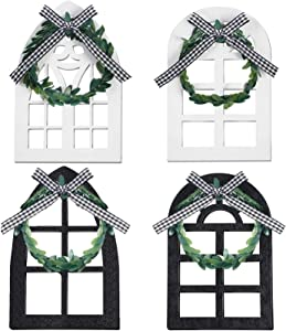 4 Window Tiered Tray Decoration Farmhouse Decor Cathedral Arch Rustic Wall Decors, 4 Style Window Sign Wooden Window Slice Table Centerpiece Black White for Home Shelf Spring Stand Photo Prop (Window)