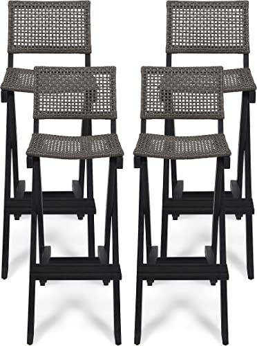 Great Deal Furniture Ula Outdoor Folding Acacia Wood Barstools Set of 4 , Dark Gray and Brown