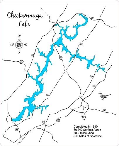 Amazoncom Chickamauga Lake Tennessee Framed Wood Map Wall