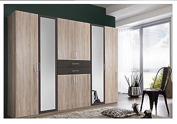 a91db6c40d6 SlumberHaus Diver Large 6 Door Oak Charcoal and Mirror Bedroom Wardrobe  Fitment