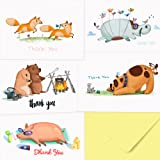 40 Animal Thank You Cards - With Yellow Envelopes