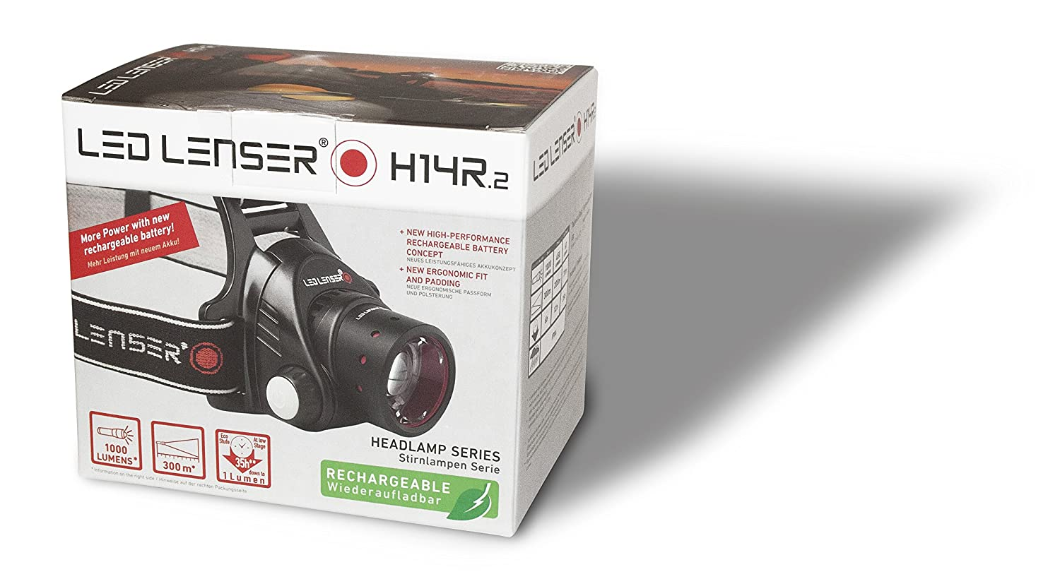 Camping-Lampen & -Laternen Clamshell Packaging LEDLENSER H14R.2 Rechargeable Headlamp Helmlampe