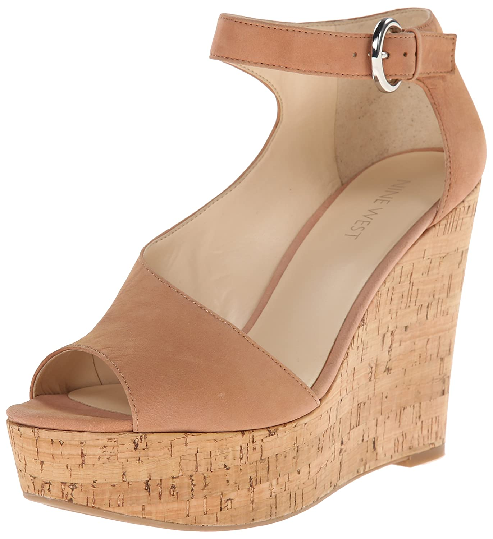 Nine West Women's Adyssinian Nubuck Wedge Sandal B00QX2YU4G 9.5 B(M) US|Natural