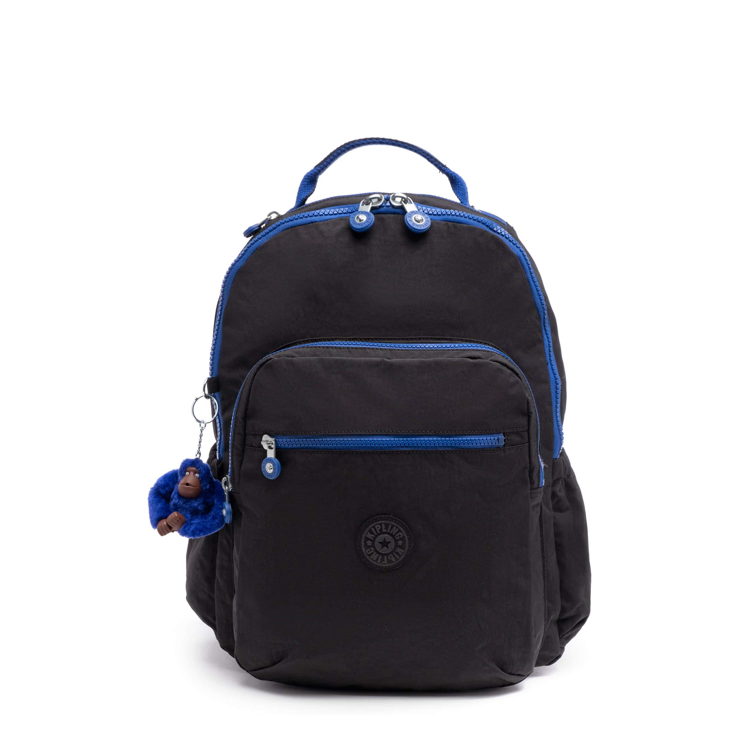 Kipling Seoul Go Laptop Backpack (Black Contrast Blue) by Kipling