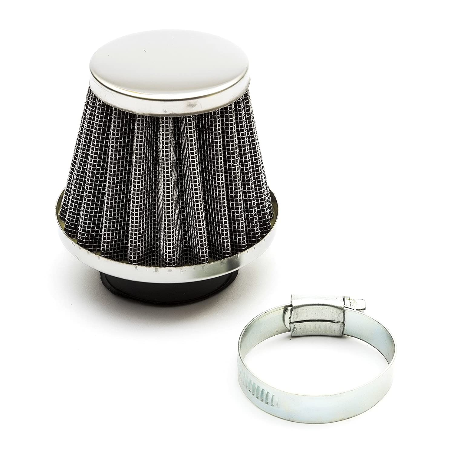 K&N Style Performance Air Filter 38mm Silver Straight Neck For Pit Bikes, Scooters & Quad Bikes PetrolScooter