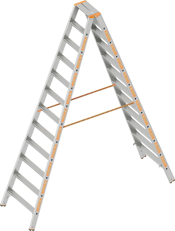 Layher 1043012 Nivel Topic, escalera de aluminio (2 x 12 peldaños 80 mm de ancho, ambos lados, plegable, longitud 3.00 m: Amazon.es: Bricolaje y herramientas