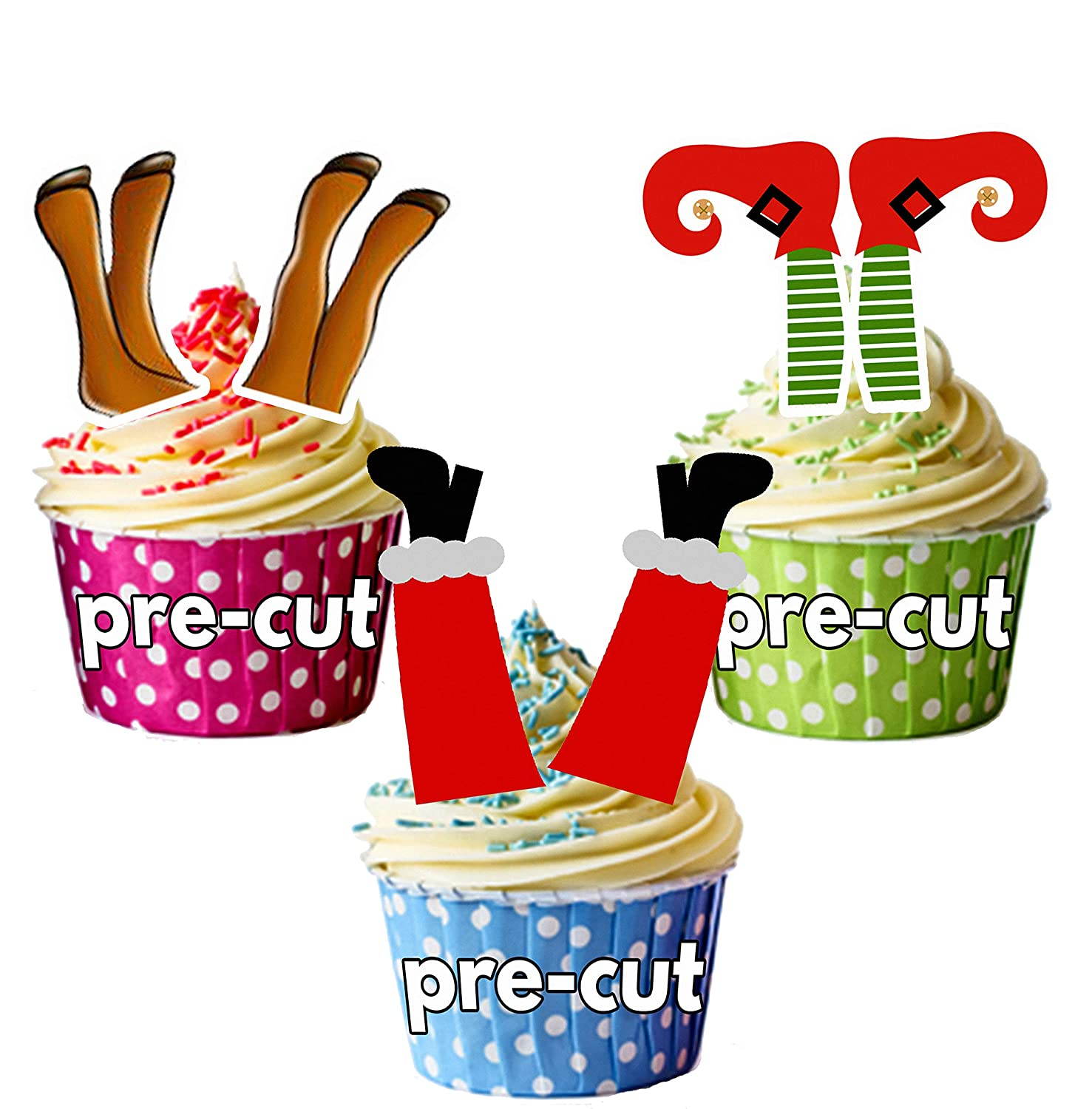 12 Edible Cupcake Toppers Christmas Cake Decorations ...