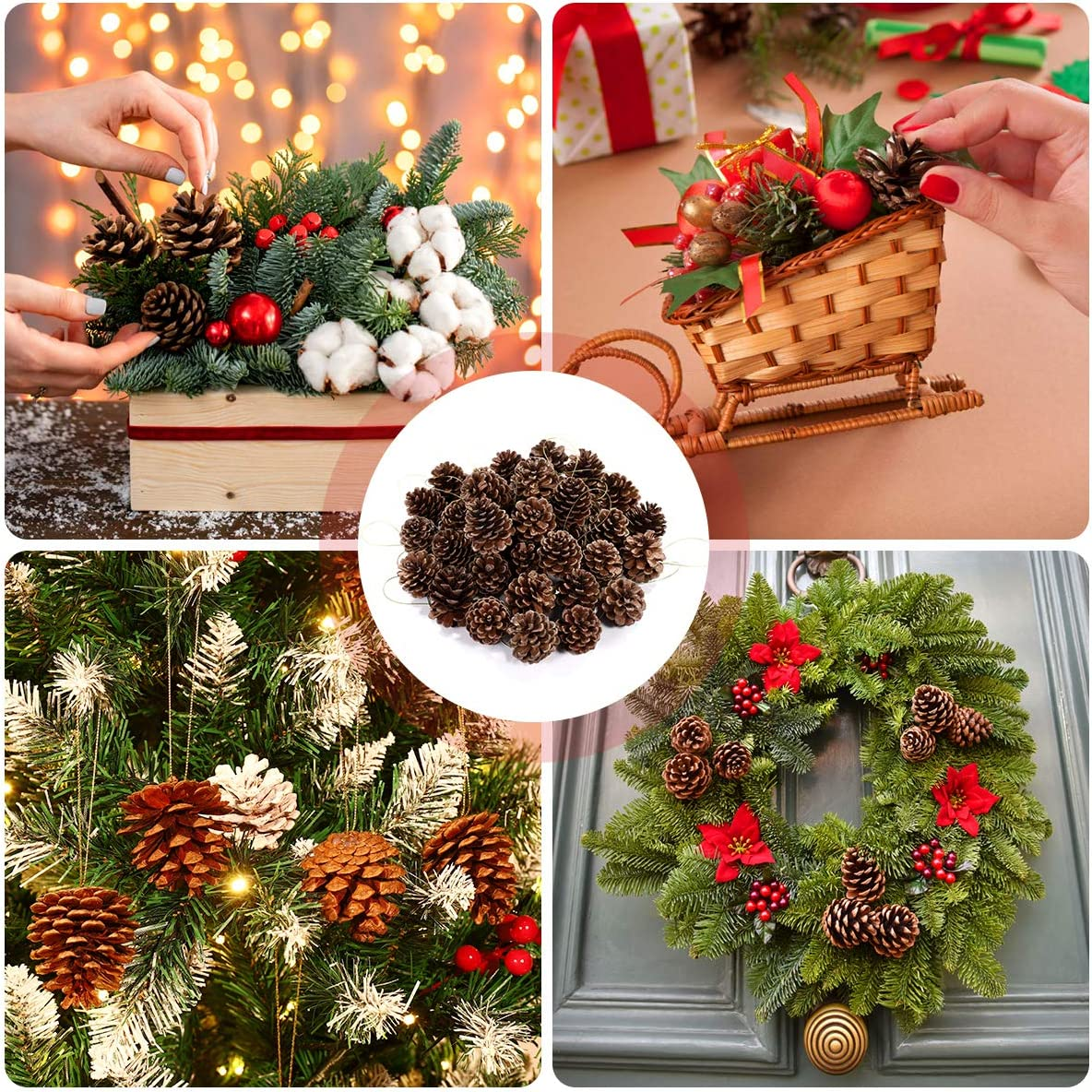 Christmas Tree Pine Cones with String Natural Wood Rustic Christmas Tree Decoration Hanging Ornament 36pcs