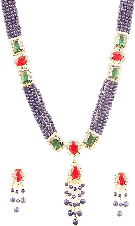 Touchstone Longue couche multicolore joliment clout/ée de style indien clair faux rubis faux /émeraude et perles bleues pour femme Ton dor