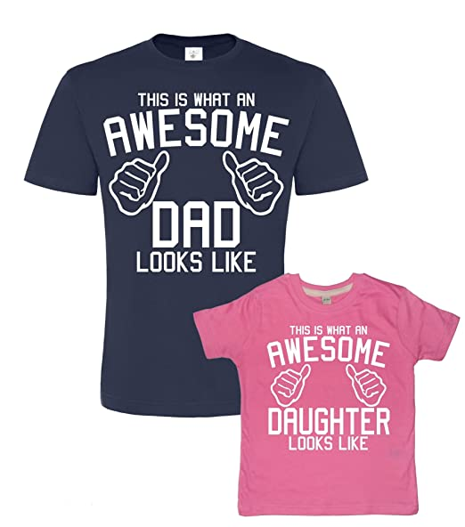 7cbc12400 Father's Day Navy & Bubblegum t-shirt set For Father and Daughter 'AWESOME  DAD and AWESOME DAUGHTER' (PLEASE INPUT THE SIZES IN THE GIFT MESSAGE BOX).