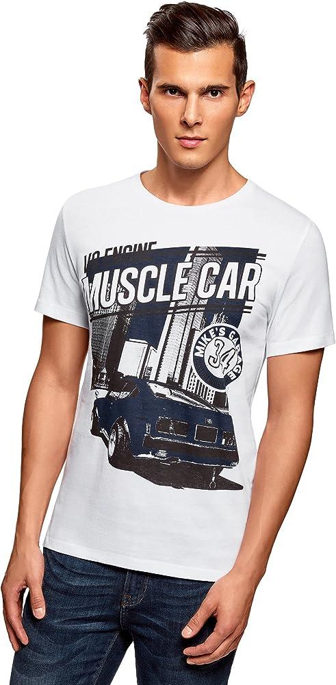 oodji Ultra Hombre Hombre Camiseta de Algodón con Estampado, Blanco, ES 58-60 / XXL: Amazon.es: Ropa y accesorios
