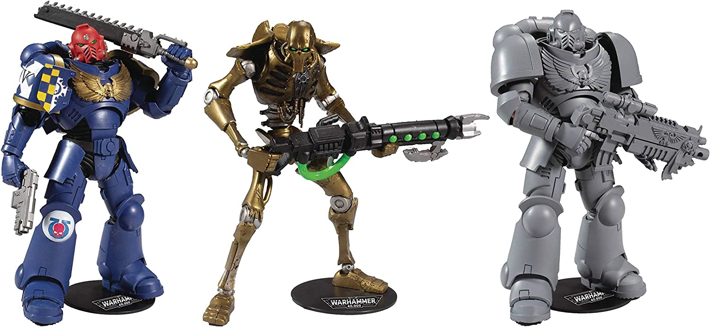 McFarlane Warhammer 40K: Ultramarino, Necron, Ultramarino sin pintar, Juego de 3 figuras de acción