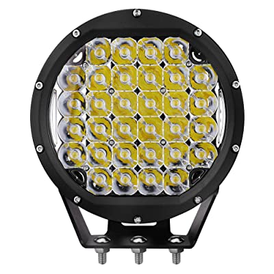 Primelux 8-inch 14400 Lumens Off Road LED Driving Light - 32x5W Cree Spot Beam for Jeep Wrangler JK TJ Cherokee XJ GMC Ford Raptor - PC Lens Cover - Waterproof IP67 (Black Ring): Automotive