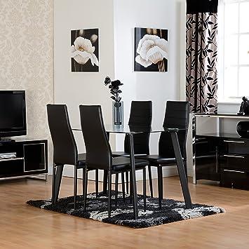 Homier Table De Salle A Manger Noire En Verre Avec 4 Chaises