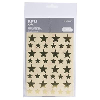 APLI - Bolsa de pegatinas estrella oro, grandes y pequeñas 3 hojas: Oficina y papelería