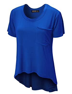 CTC WT938 Womens Oversized Raw-Edge Pocket Tee S ROYAL_BRITE