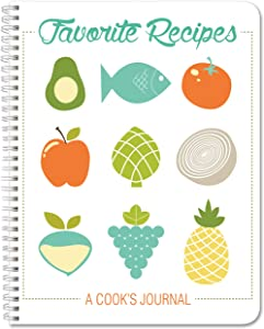 """BookFactory Recipe Book/Recipe Journal/Notebook/Blank Cook Book - 120 Total Recipe Pages (8.5"""" X 11"""") 60 Individual Recipes, Translux Cover, Wire-O Binding (JOU-120-7CW-PP-(RecipeJournal))"""