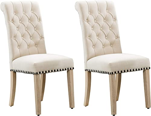 Fabric Tufted Dining Chairs,Adochr Upholstered Kitchen and Dining Room Chairs-Set of 2 Beige