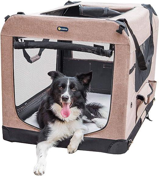 Veehoo Plegable Transportín para Perros, Blando, Caja para Mascotas abatible, transportable y Suave: Amazon.es: Productos para mascotas