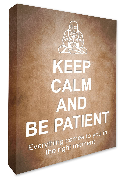 KEEP CALM & BE PATIENT BUDDHA FRAMED BOX CANVAS PRINT WALL ART