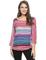 Splendid - Women's Multi-Color Sunstone Stripe Dolman Sleeve Blouse Top