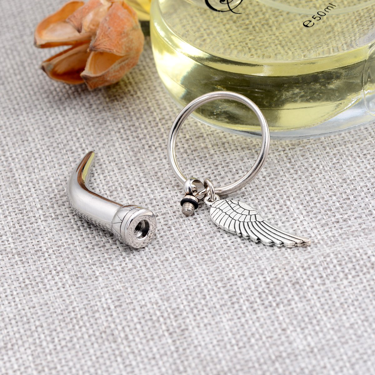 GIONO Cremation Jewelry Angel Wing Charms Urn Pendant Memorial Key-Chain Keepsake Urns Ash Jewelry