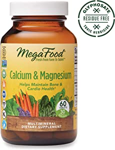 MegaFood, Calcium & Magnesium, Helps Maintain Bone and Cardiovascular Health, Vitamin and Dietary Supplement, Gluten Free, Vegan, 60 Tablets (30 Servings)