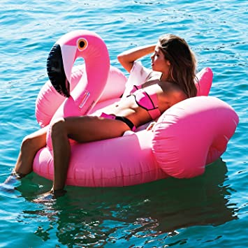 PacagoR Giant Inflatable Flamingo Pool Float Outdoor Swimming Floatie Lounge Toy Bed
