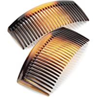 2 pk Tortoise Shell Colour 9.5cm Wide Hair Tooth Side Comb