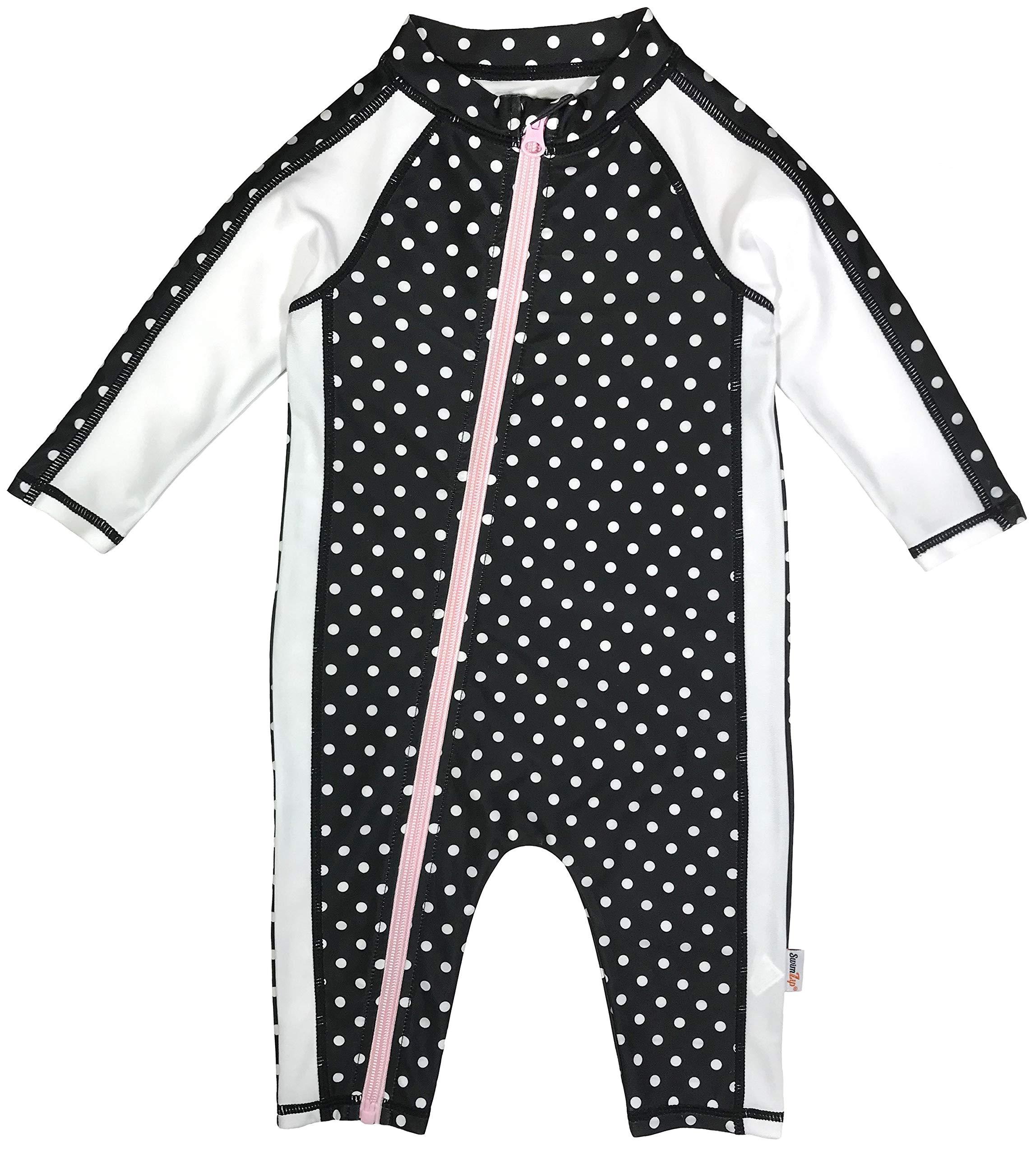 SwimZip Little Girl Long Sleeve Sunsuit Romper Swimsuit UPF 50 Sun Protection Black by SwimZip