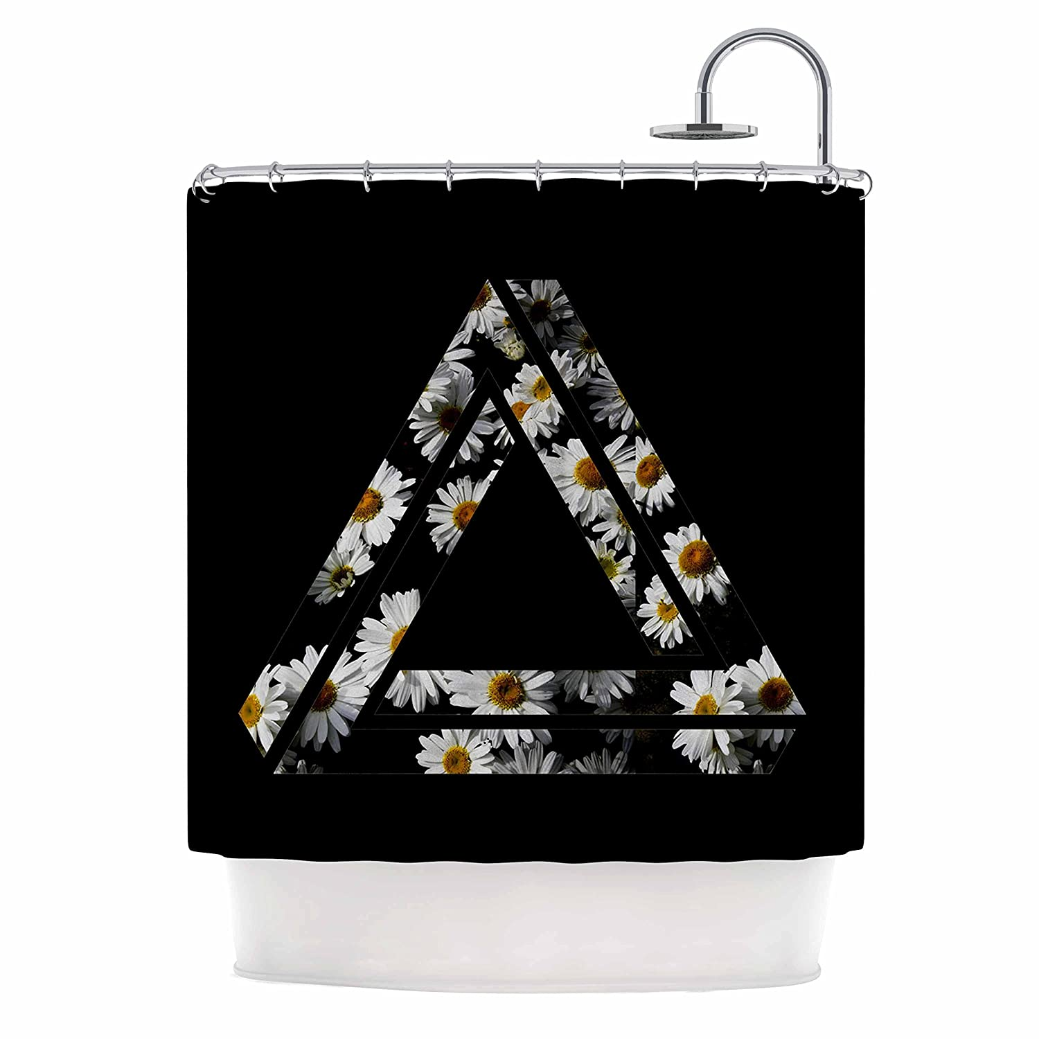 Kess InHouse Alias Impossible Daisy Chain Black Yellow Shower Curtain, 69 by 70'