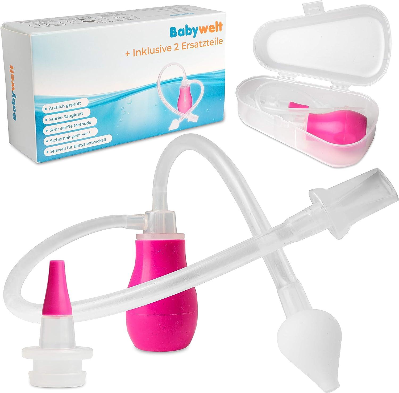 Aspirador nasal bebé [2 en 1] – Limpiador nasal de silicona médica – Fácil de usar y limpiar – Chupete de popelé para bebés y niños pequeños – Siempre reutilizable sin filtro – Tetina para bebés