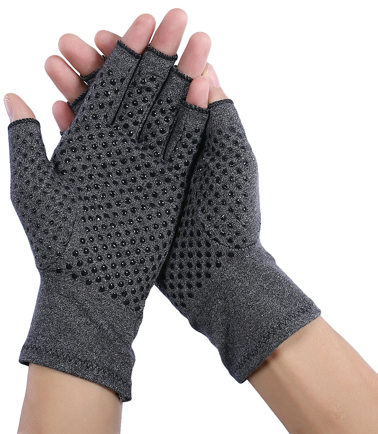 Compression Arthritis Gloves (Fingerless) - Textured Open Finger Compression Hand Gloves for Rheumatoid and Osteoarthritis - Joint Pain Relief for Men & Women - Open Finger (Medium) by Capol